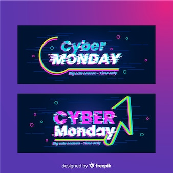 Set of glitch cyber monday banners
