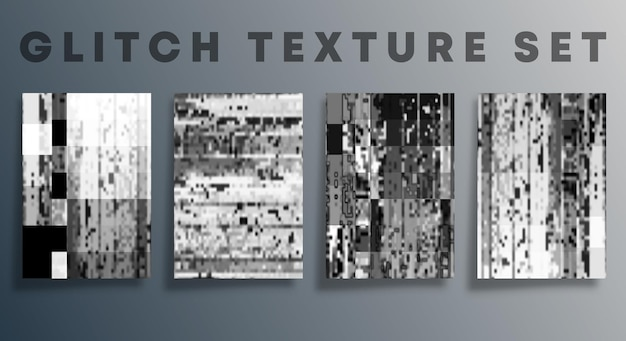 Set of glitch texture template for the banner, flyer, poster, cover brochure, and other backgrounds. vector illustration.