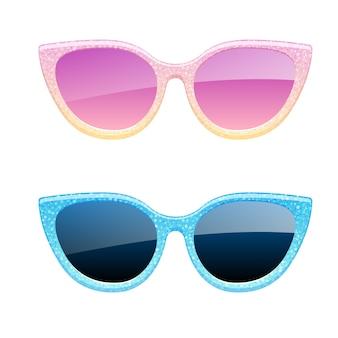 Set of glitter sunglasses icons. fashion glasses accessories.