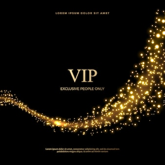 Set of glittering dust tails in golden style, golden glitter abstract background
