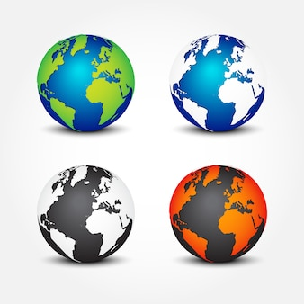 Set of global in different color