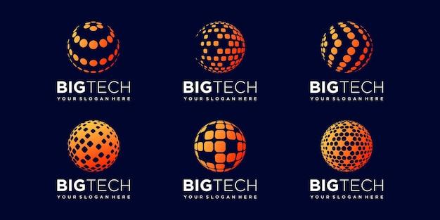 Set of global digital logo design vector template. Premium Vector
