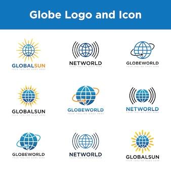 地球のロゴとアイコンを設定するベクトルデザインのテンプレート