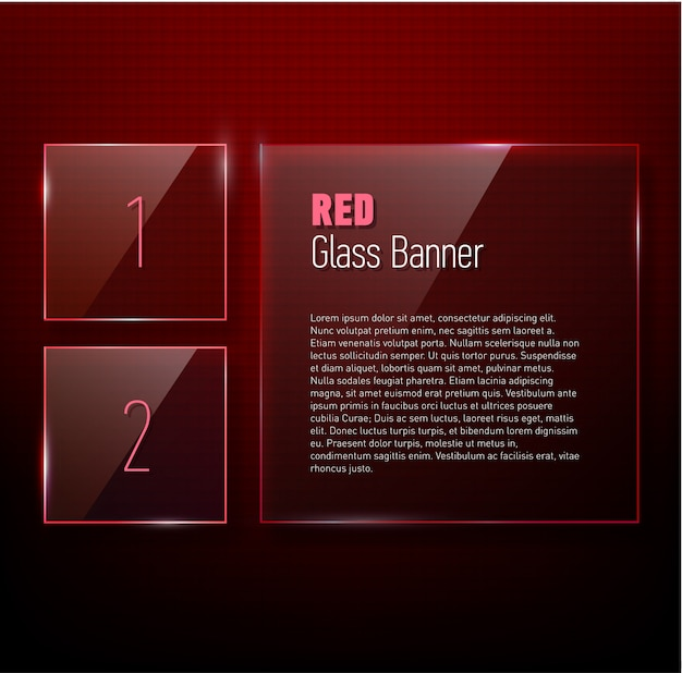 Set of glossy  banners with shiny lights over dark red pattern background