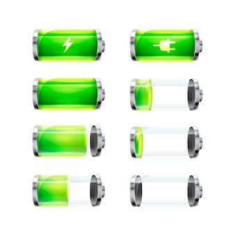 Set of glossy battery icons with different charge level and power signs isolated