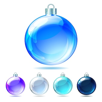 Set of glossy christmas balls on white background.  illustration.