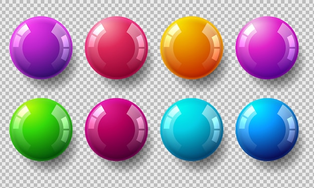 Set of glossy colored balls on transparent background