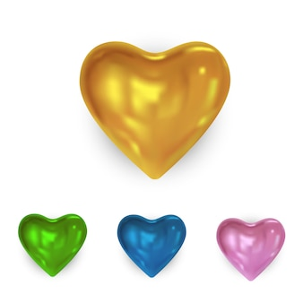 Set of glossy colored heart