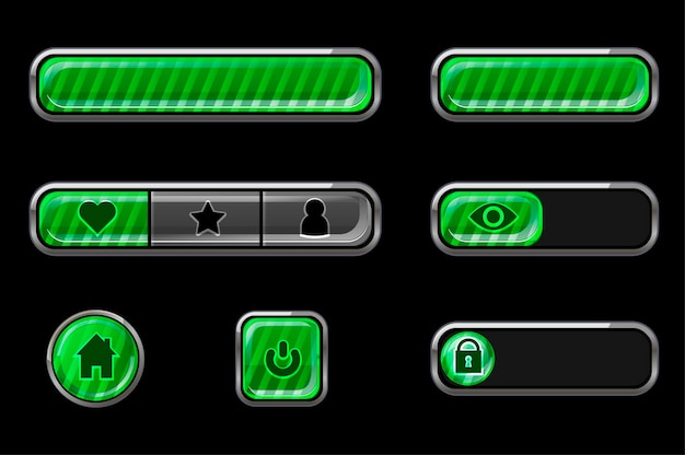 Set of glossy green striped buttons for interface