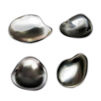 Set of glossy liquid metal drops on white