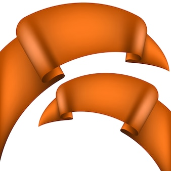 Set of glossy orange ribbons on a white background.