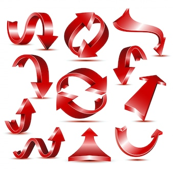 Set of glossy red arrow icons for web design or logo template.