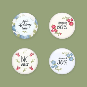 Set of glossy sale buttons or badges. product promotions. big sale, special offer, 50 off. spring tag design, voucher template. big set. floral frame for text, isolated on white background.