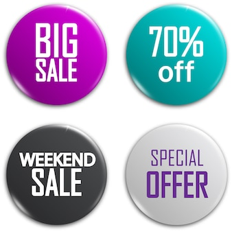 Set of glossy sale buttons.