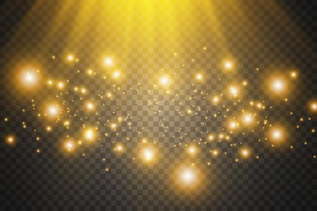 白い火花と金色の星でグローライト効果を設定します Premiumベクター