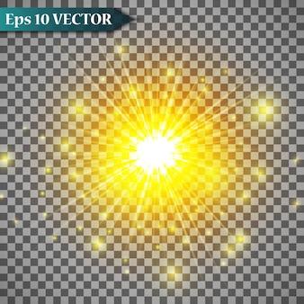 白い火花と金色の星でグローライト効果を設定します