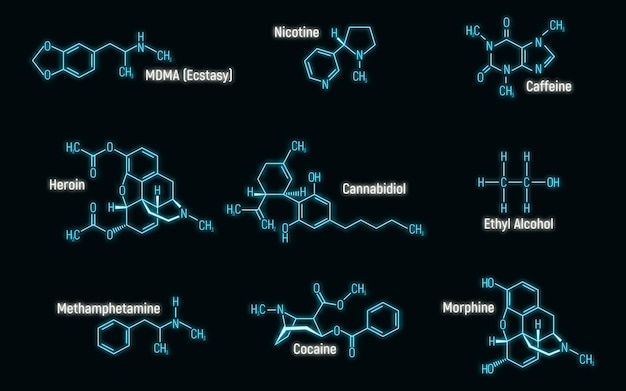 Set of glow neon style concept 9 narcotic chemical formula icon label, text font vector illustration, isolated on wall background. periodic element table, addictive drug stuff.