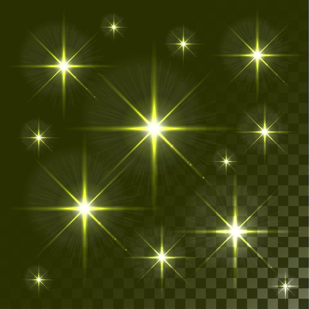 Set of glowing light effect stars bursts on transparent background.