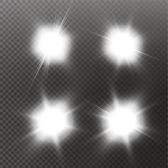 Set of  glowing light effect stars bursts with sparkles on transparent background. transparent stars.