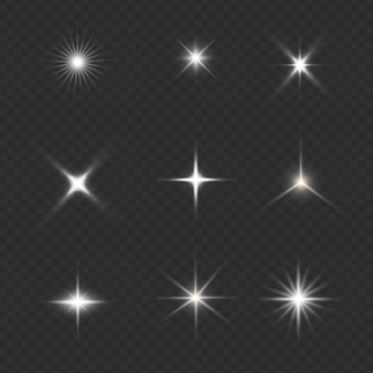 Set of glowing light effect stars bursts with sparkles