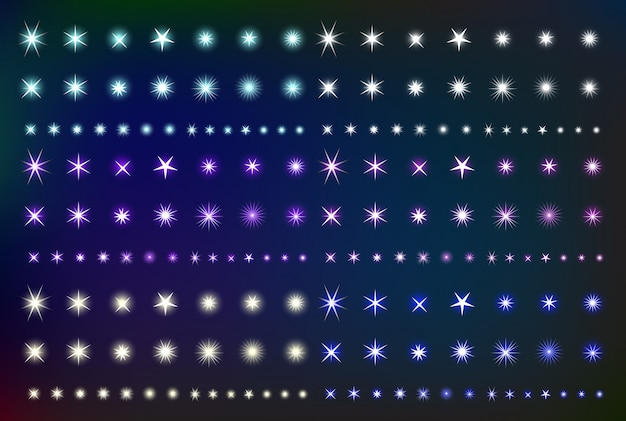 Set glowing light effect stars. collection of various shining forms  sparks. kit glittering element.  illustration
