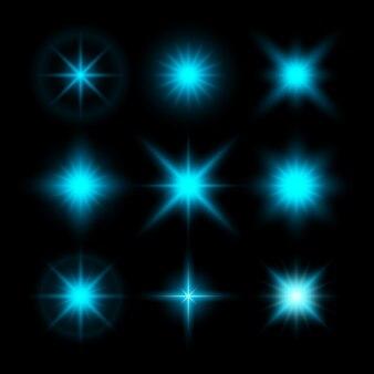 Set of glowing lights effect on black