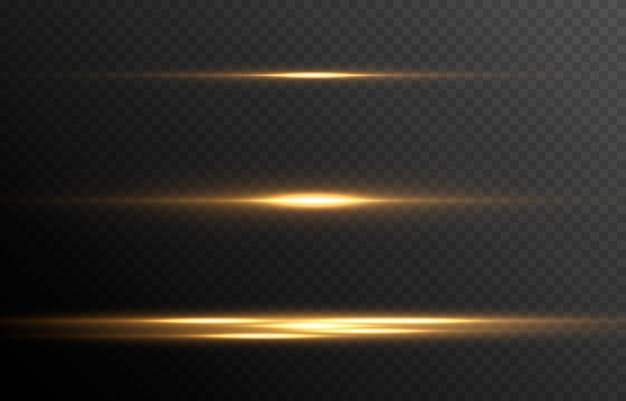 Set of glowing lines of light magic glow neon glowing lines png horizontal flash vector image