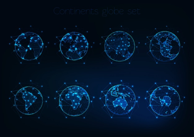 Set of glowing low polygonal globes shows planet earth with different continents outlines.