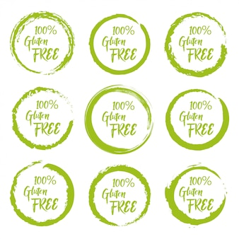Set of gluten free grunge label sticker on a white background