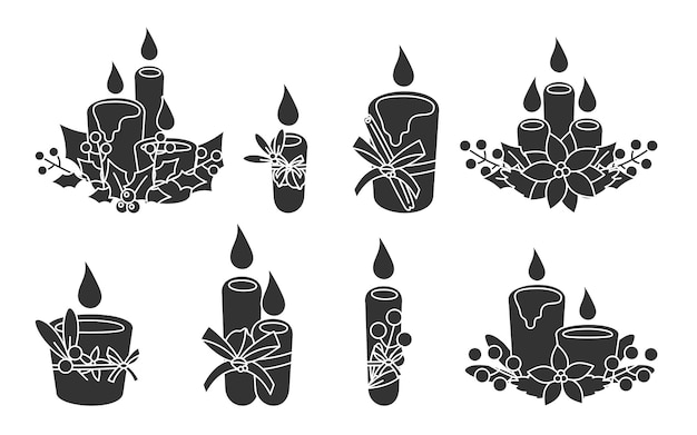 Set of glyph christmas candles with poinsettia, cone, mistletoe. festive candle with berries, leaves. traditional fire, symbol new year holiday. decor elements. isolated on white illustration