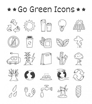Set of go green icons in doodle style