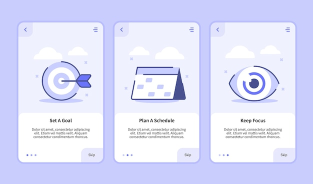 Set a goal plan a schedule keep focus onboarding screen for mobile apps template banner page ui flat outline style .