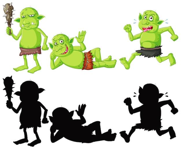Set di goblin o troll a colori e silhouette in personaggio dei cartoni animati su sfondo bianco