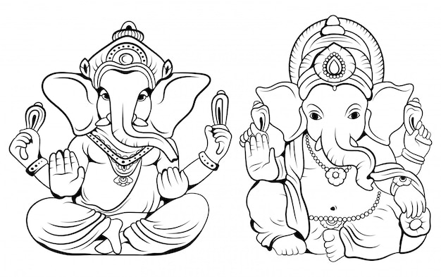 Set of god ganesha. collection of hindu deities with an elephant head.