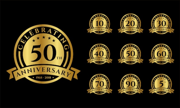 Set of gold anniversary emblems