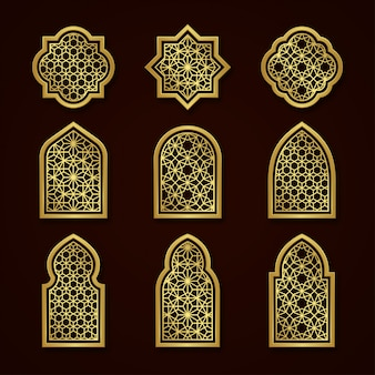 Set of gold arabic ornamental windows