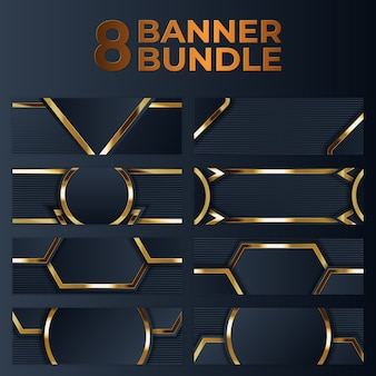 Set of gold banner design with minimalist modern style gold luxury