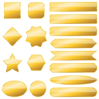 Set of gold banners isolated -