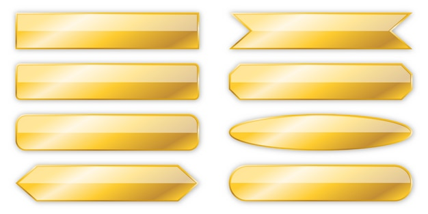 Set of gold banners isolated