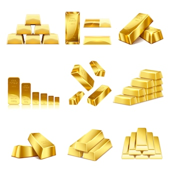 Set of gold bars icon