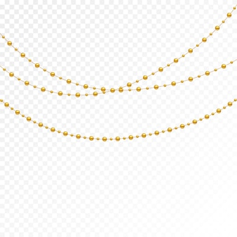 Set of gold beads and gold chains.