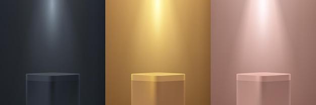 Set of gold black pink gold round corner cube pedestal podium display with lighting