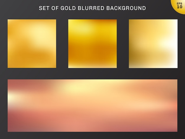 Set of gold blurred background luxury style