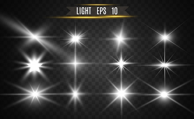 Set of gold bright beautiful stars. light effect bright star. beautiful light for illustration.vector sparkles.white glowing light.