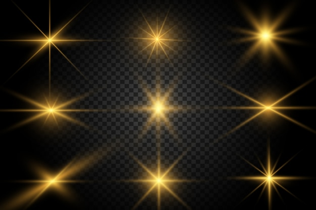 Set of gold bright beautiful stars. light effect bright star. beautiful light for illustration.white sparks sparkle with a special light. vector sparkles
