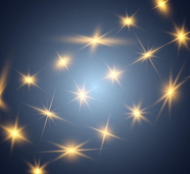 Set of gold bright beautiful stars light effect bright star beautiful light for illustration