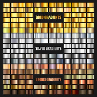 Set of gold, bronze and silver gradient background. golden and metallic gradient collection for border, frame, ribbon, label design. color swatch. gold foil texture gradation.