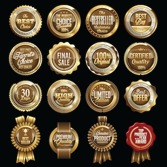 Set of gold brown retail badges