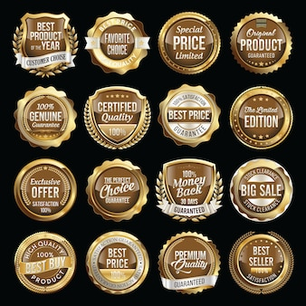 Set of gold and brown retail badges