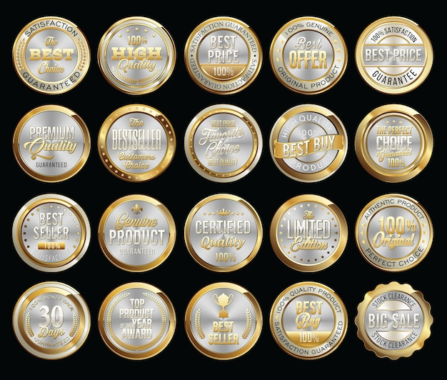 Set of gold certificate seals and badges